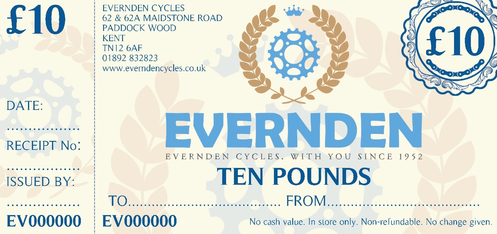 Evernden Cycles Gift Vouchers £10 00